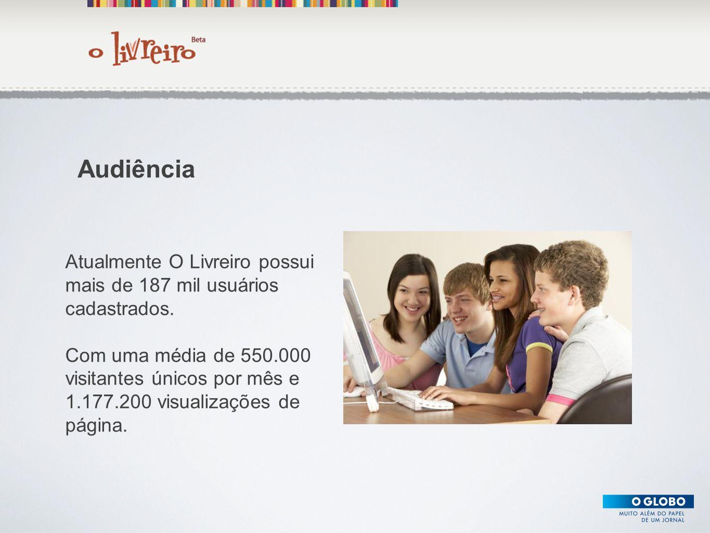 Texto Atualmente O Livreiro possui mais de 187 mil usuários cadastrados. Com uma média de 550.000 visitantes únicos por mês e 1.177.200 visualizações