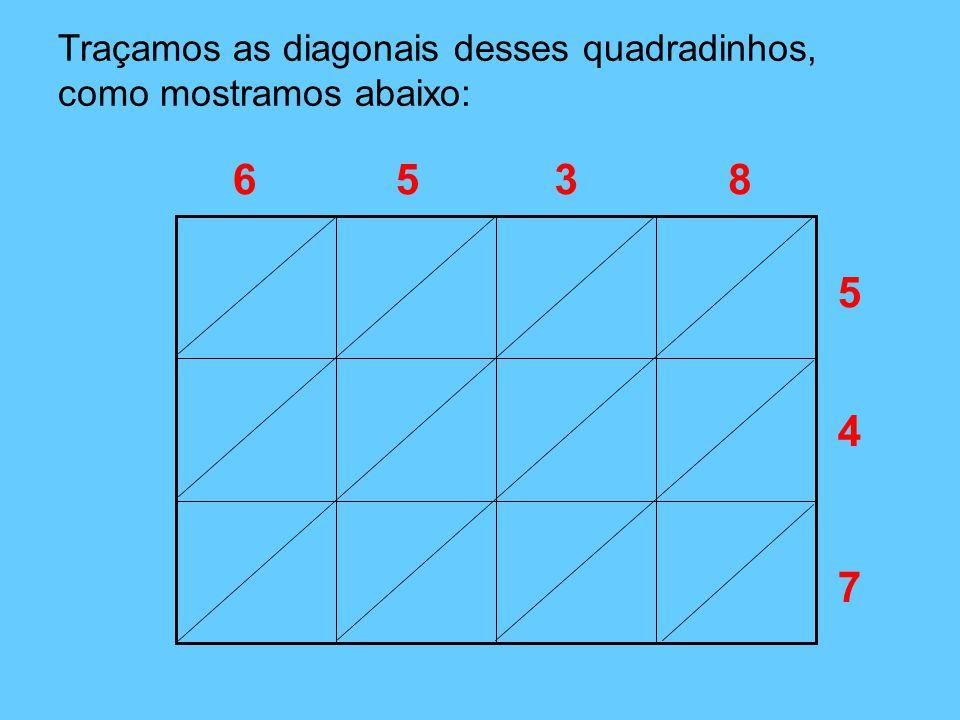 5 Traçamos as diagonais desses quadradinhos, como mostramos abaixo: 4 7 6538