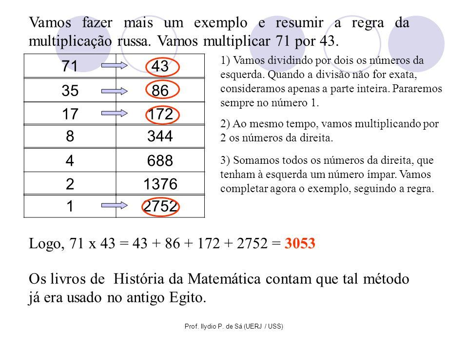 Prof. Ilydio P. de Sá (UERJ / USS) Vamos fazer mais um exemplo e resumir a regra da multiplicação russa. Vamos multiplicar 71 por 43. 7143 1) Vamos di