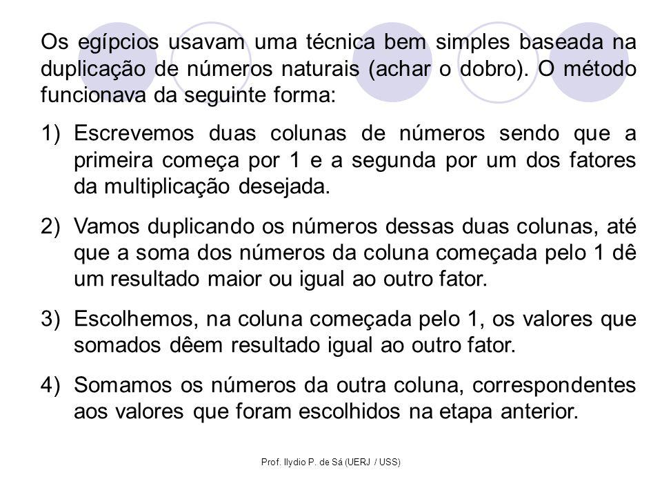 Prof. Ilydio P. de Sá (UERJ / USS) Os egípcios usavam uma técnica bem simples baseada na duplicação de números naturais (achar o dobro). O método func