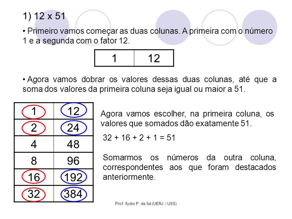 Prof. Ilydio P. de Sá (UERJ / USS) 112 224 448 896 16192 32384 Agora vamos escolher, na primeira coluna, os valores que somados dão exatamente 51. 1)