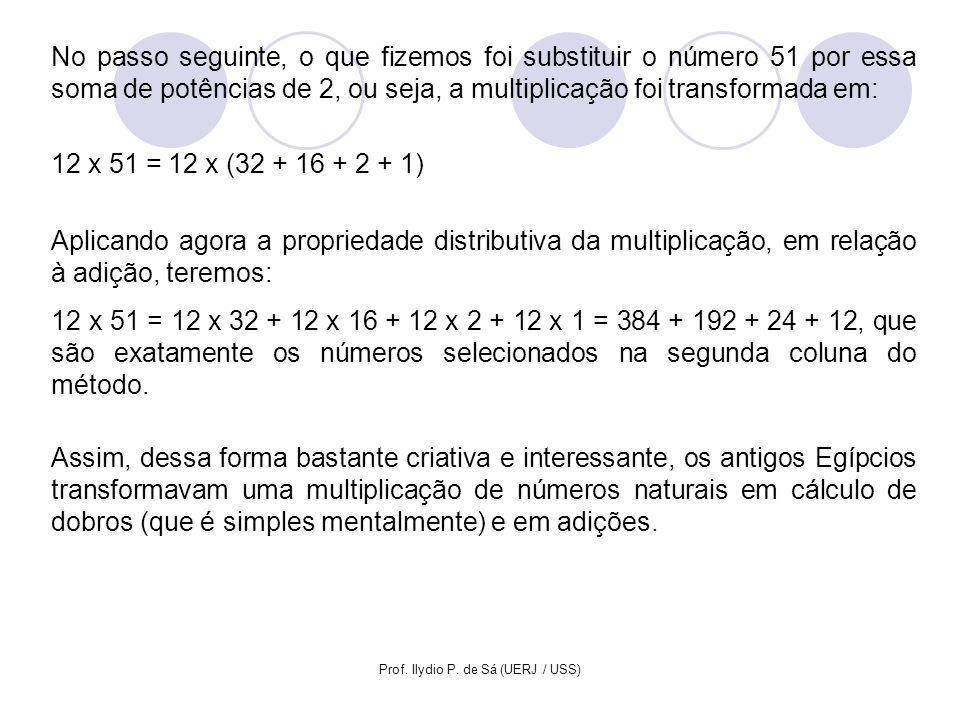 Prof. Ilydio P. de Sá (UERJ / USS) No passo seguinte, o que fizemos foi substituir o número 51 por essa soma de potências de 2, ou seja, a multiplicaç