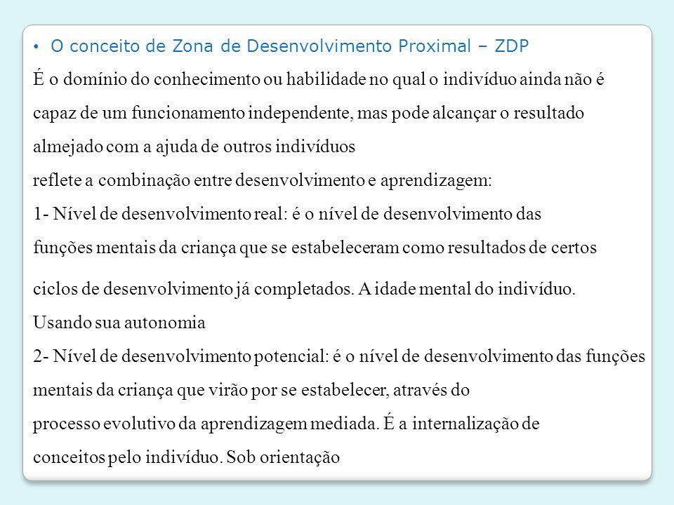 • O conceito de Zona de Desenvolvimento Proximal – ZDP É o domínio do conhecimento ou habilidade no qual o indivíduo ainda não é capaz de um funcionam