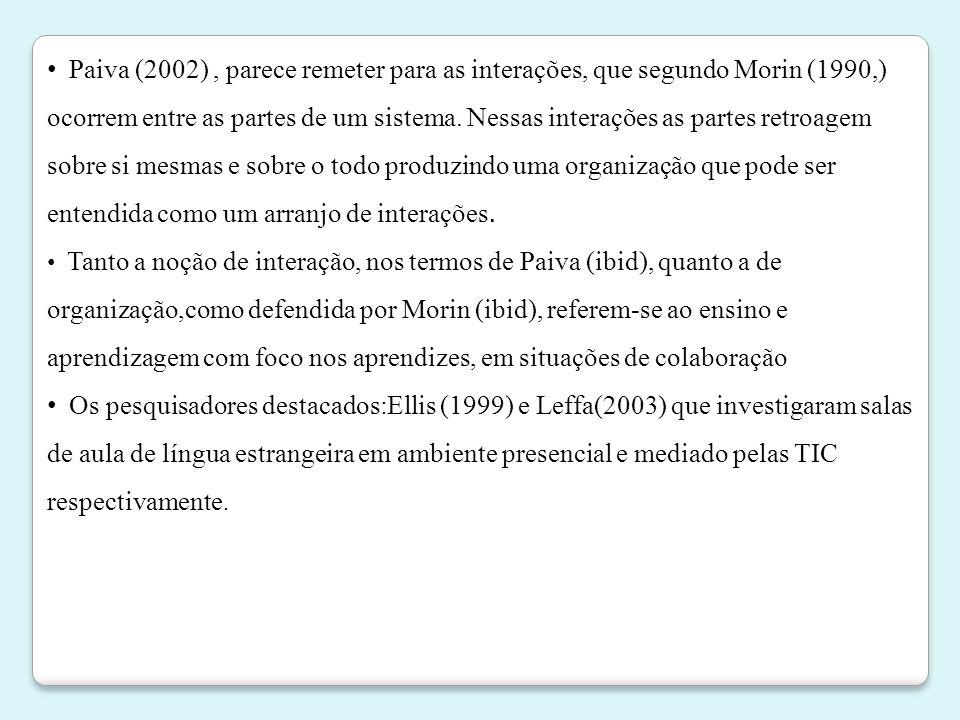 • Paiva (2002), parece remeter para as interações, que segundo Morin (1990,) ocorrem entre as partes de um sistema. Nessas interações as partes retroa