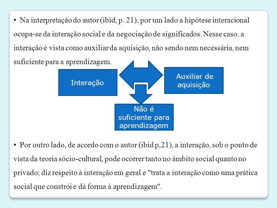 • Na interpretação do autor (ibid, p. 21), por um lado a hipótese interacional ocupa-se da interação social e da negociação de significados. Nesse cas