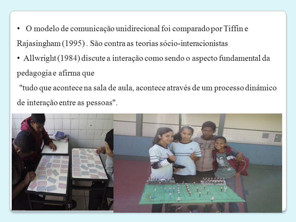 • O modelo de comunicação unidirecional foi comparado por Tiffin e Rajasingham (1995). São contra as teorias sócio-interacionistas • Allwright (1984)