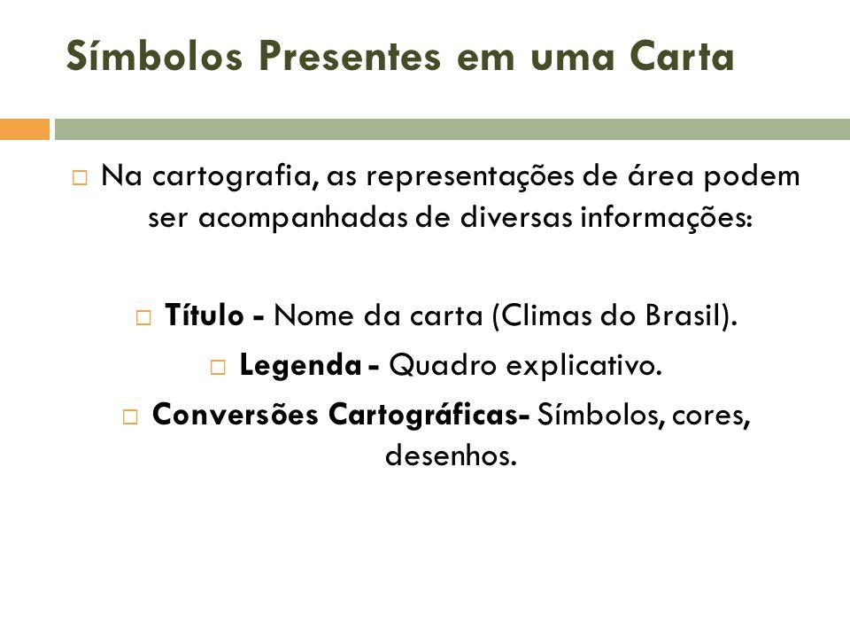 Símbolos Presentes em uma Carta  Na cartografia, as representações de área podem ser acompanhadas de diversas informações:  Título - Nome da carta (Climas do Brasil).