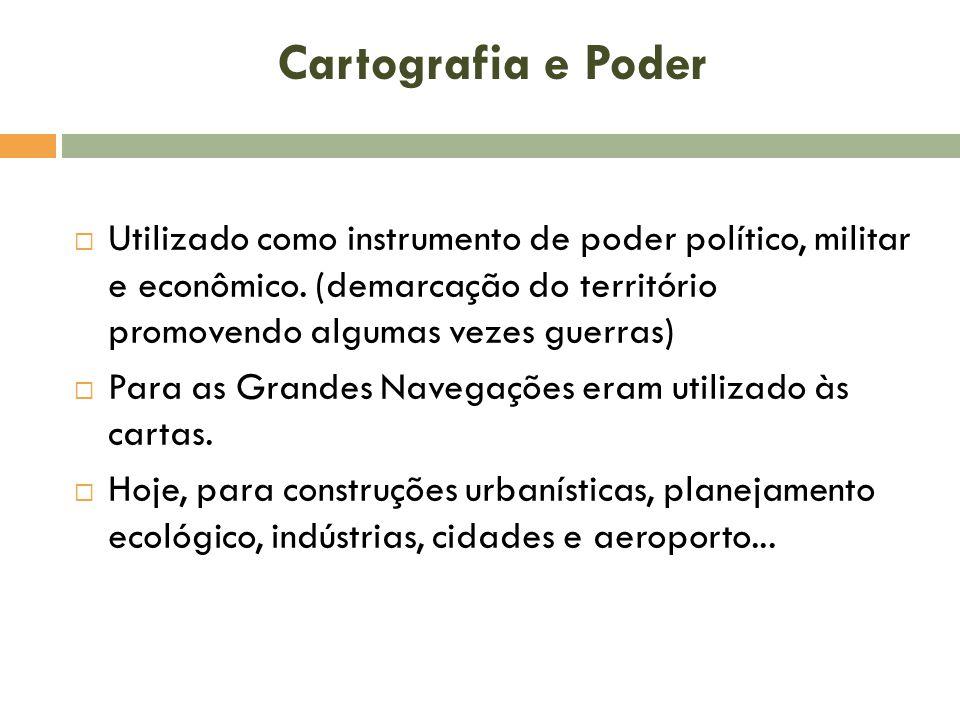 Cartografia e Poder  Utilizado como instrumento de poder político, militar e econômico.