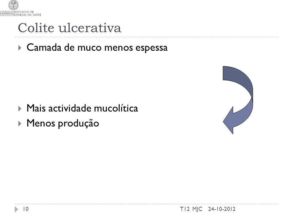 Colite ulcerativa  Camada de muco menos espessa  Mais actividade mucolítica  Menos produção 24-10-2012T12 MJC10