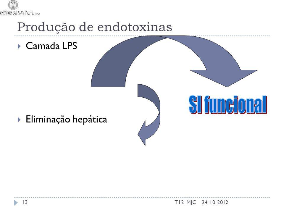 Produção de endotoxinas  Camada LPS  Eliminação hepática 24-10-2012T12 MJC13