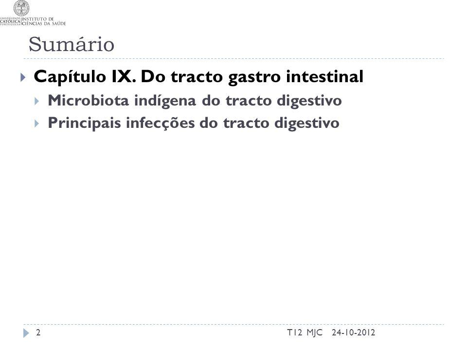 O tracto digestivo como habitat microbiano  Factores mais importantes  Zonas estéreis e colonizadas  MI com disseminação hematogénica  Porta de entrada para patogenos e absorção de toxinas 24-10-2012T12 MJC T-14 3
