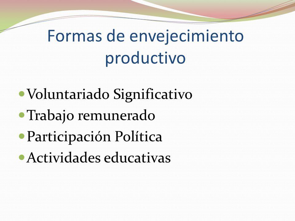 Formas de envejecimiento productivo  Voluntariado Significativo  Trabajo remunerado  Participación Política  Actividades educativas