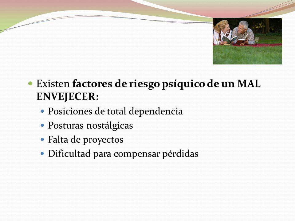  Existen factores de riesgo psíquico de un MAL ENVEJECER:  Posiciones de total dependencia  Posturas nostálgicas  Falta de proyectos  Dificultad para compensar pérdidas