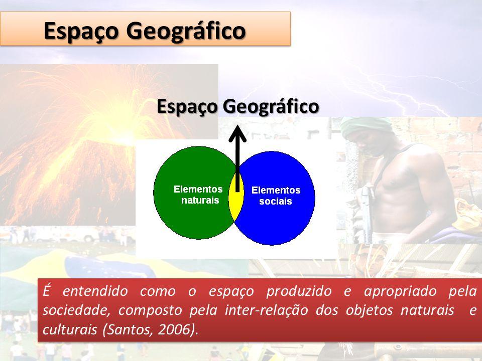 Espaço Geográfico É entendido como o espaço produzido e apropriado pela sociedade, composto pela inter-relação dos objetos naturais e culturais (Santo