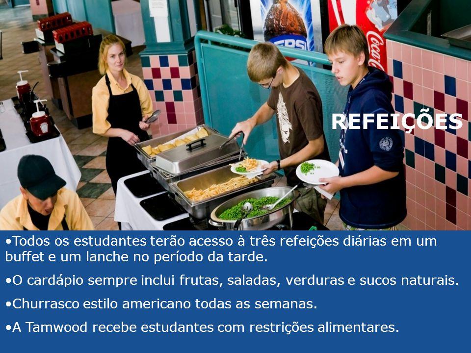 •Todos os estudantes terão acesso à três refeições diárias em um buffet e um lanche no período da tarde. •O cardápio sempre inclui frutas, saladas, ve