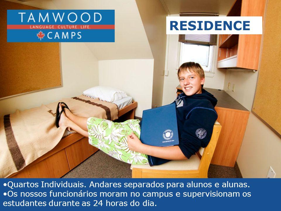 •Quartos Individuais. Andares separados para alunos e alunas. •Os nossos funcionários moram no campus e supervisionam os estudantes durante as 24 hora
