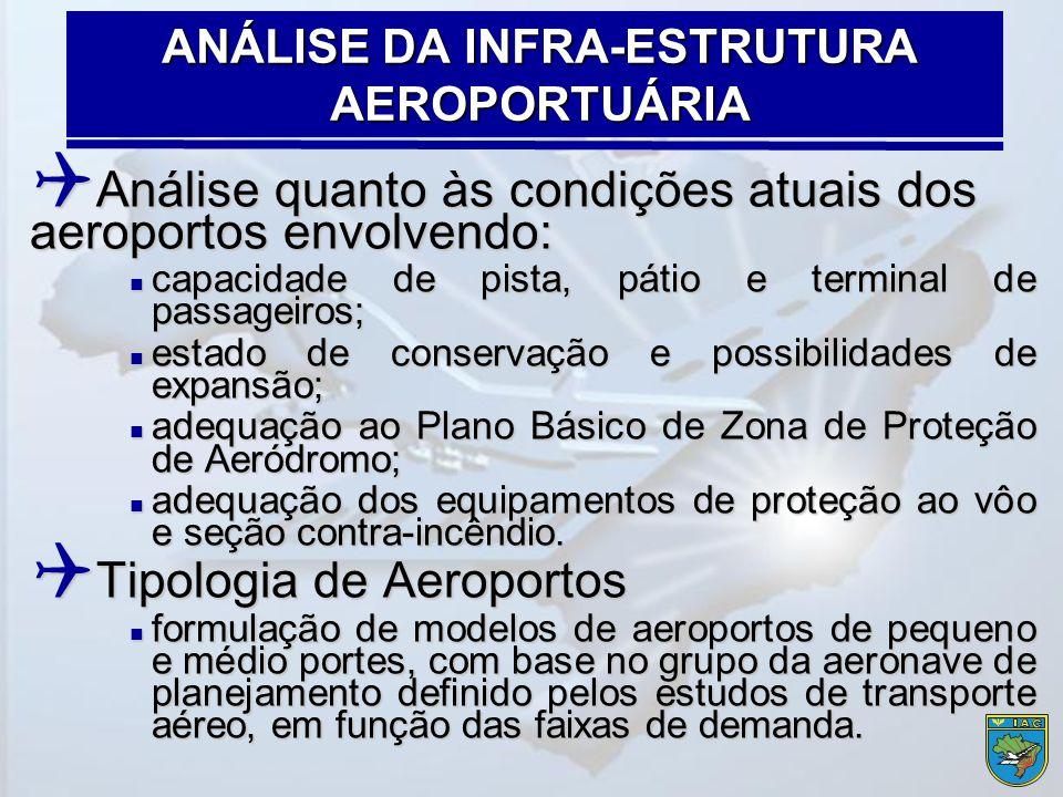 Análise quanto às condições atuais dos aeroportos envolvendo:  capacidade de pista, pátio e terminal de passageiros;  estado de conservação e poss