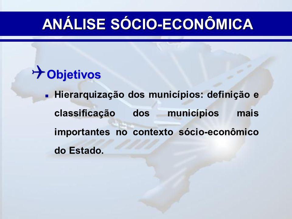  Objetivos  Hierarquização dos municípios: definição e classificação dos municípios mais importantes no contexto sócio-econômico do Estado. ANÁLISE