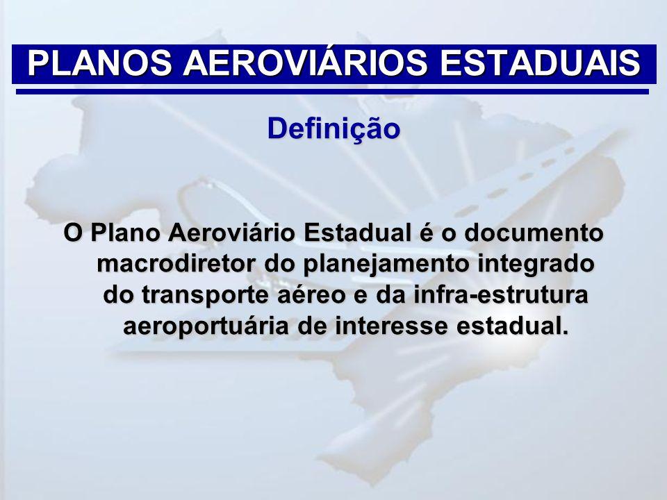 Definição O Plano Aeroviário Estadual é o documento macrodiretor do planejamento integrado do transporte aéreo e da infra-estrutura aeroportuária de i
