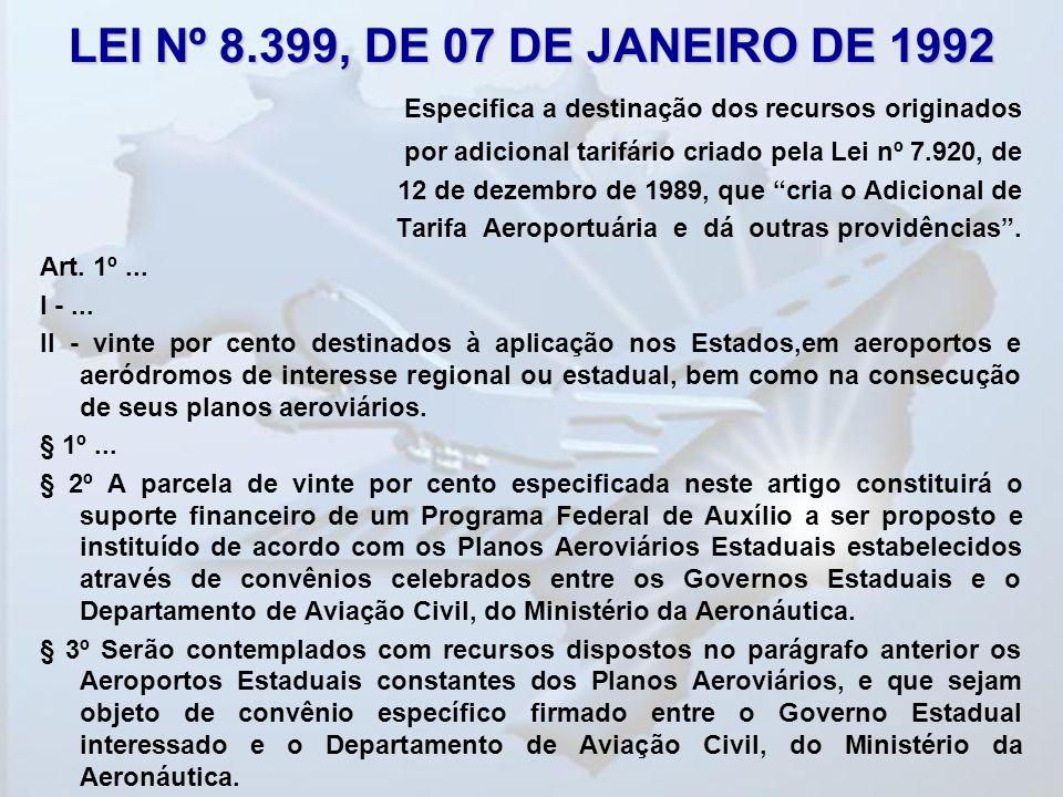 LEI Nº 8.399, DE 07 DE JANEIRO DE 1992 Especifica a destinação dos recursos originados por adicional tarifário criado pela Lei nº 7.920, de 12 de deze