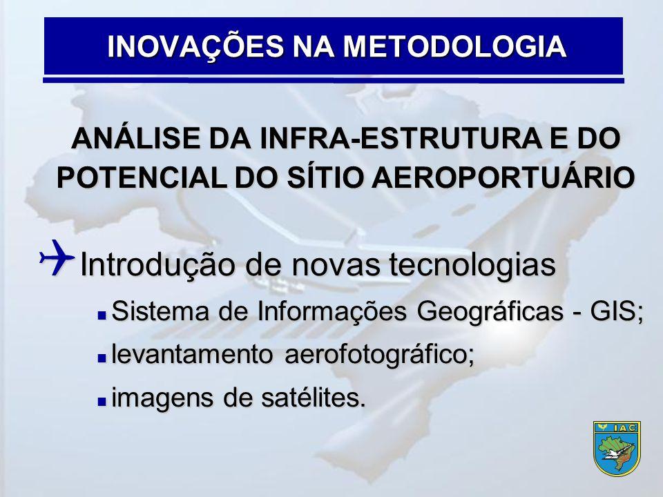 ANÁLISE DA INFRA-ESTRUTURA E DO POTENCIAL DO SÍTIO AEROPORTUÁRIO  Introdução de novas tecnologias  Sistema de Informações Geográficas - GIS;  levan