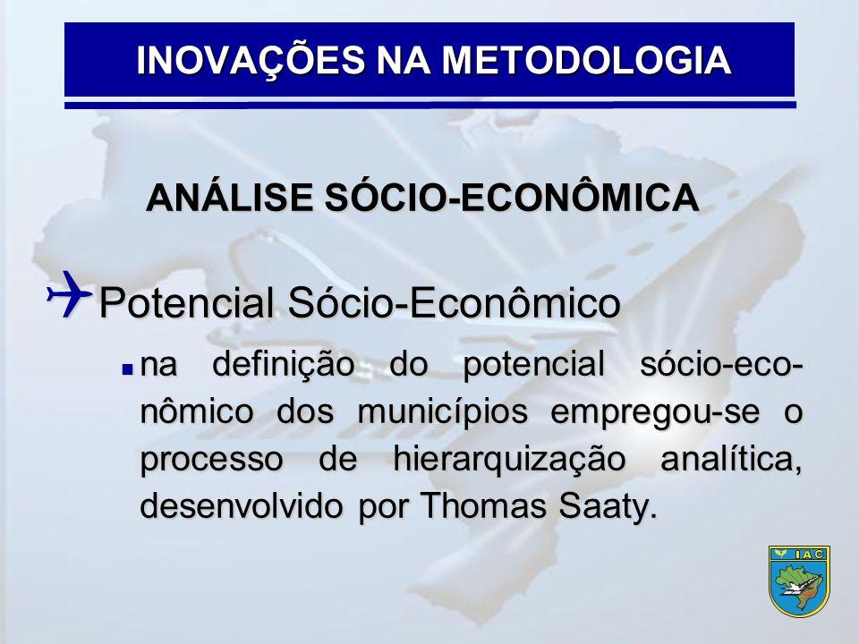 ANÁLISE SÓCIO-ECONÔMICA  Potencial Sócio-Econômico  na definição do potencial sócio-eco- nômico dos municípios empregou-se o processo de hierarquiza