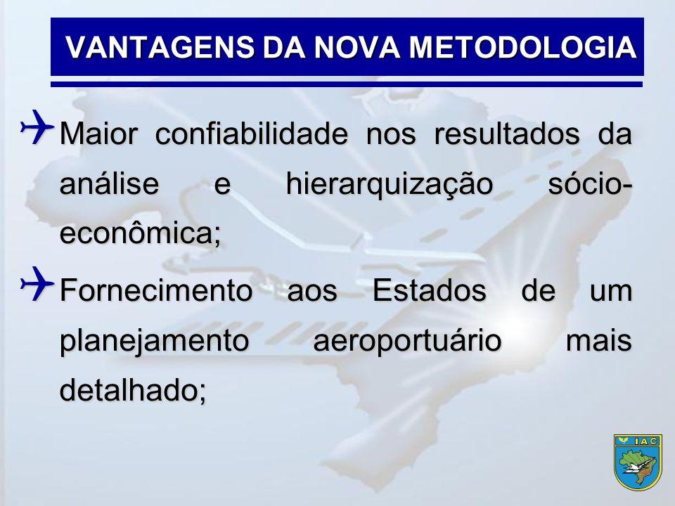  Maior confiabilidade nos resultados da análise e hierarquização sócio- econômica;  Fornecimento aos Estados de um planejamento aeroportuário mais d