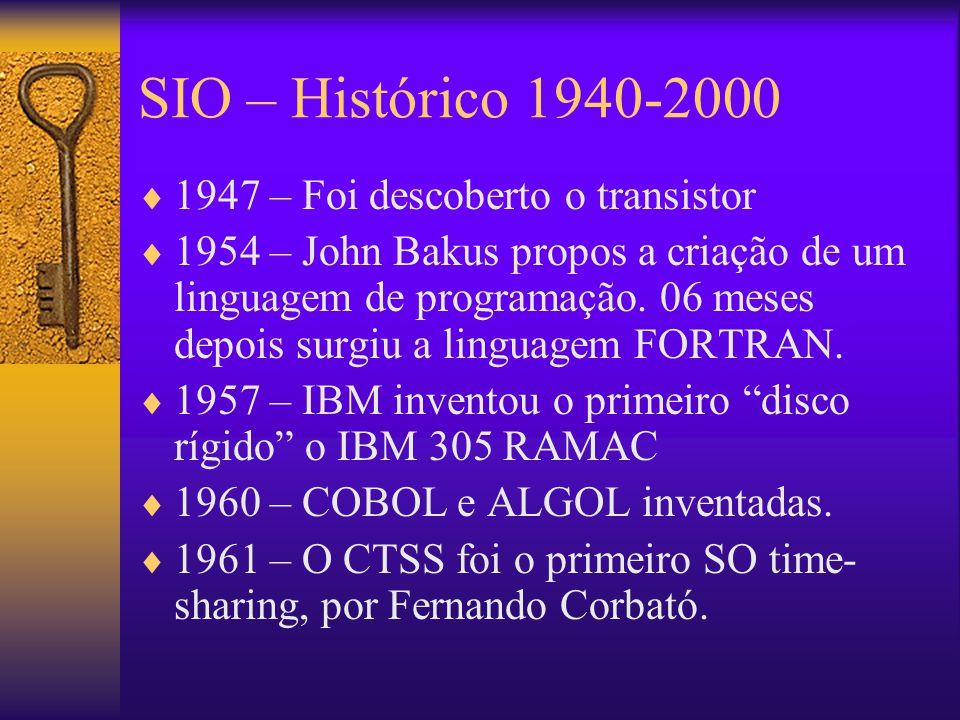 SIO – Histórico 1940-2000  1947 – Foi descoberto o transistor  1954 – John Bakus propos a criação de um linguagem de programação.