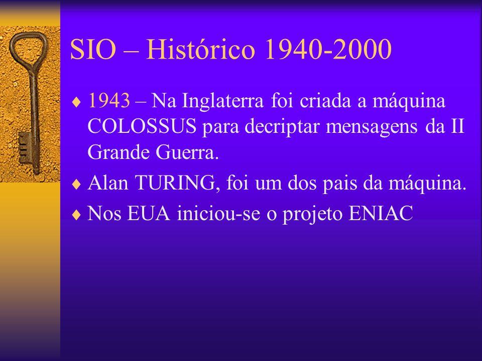 SIO – Histórico 1940-2000  1943 – Na Inglaterra foi criada a máquina COLOSSUS para decriptar mensagens da II Grande Guerra.