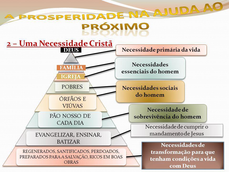 2 – Uma Necessidade Cristã DEUS FAMÍLIA IGREJA POBRES ÓRFÃOS E VIÚVAS PÃO NOSSO DE CADA DIA EVANGELIZAR, ENSINAR, BATIZAR REGENERADOS, SANTIFICADOS, PERDOADOS, PREPARADOS PARA A SALVAÇÃO, RICOS EM BOAS OBRAS Necessidade primária da vida Necessidades essenciais do homem Necessidades sociais do homem Necessidade de sobrevivência do homem Necessidade de cumprir o mandamento de Jesus Necessidades de transformação para que tenham condições a vida com Deus