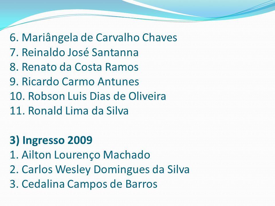 6. Mariângela de Carvalho Chaves 7. Reinaldo José Santanna 8. Renato da Costa Ramos 9. Ricardo Carmo Antunes 10. Robson Luis Dias de Oliveira 11. Rona