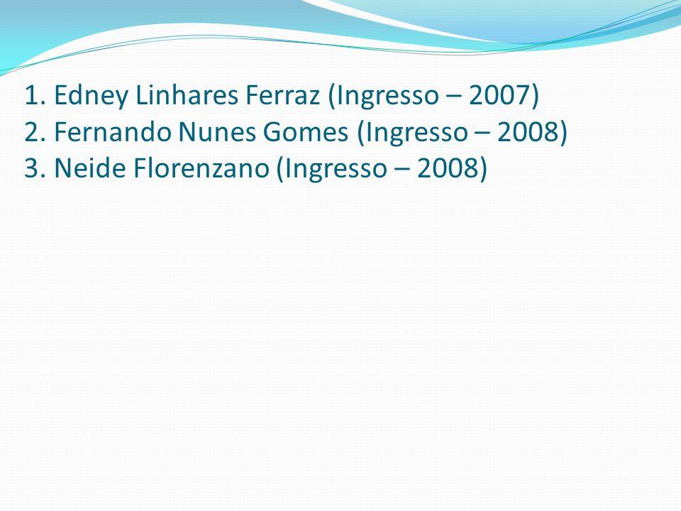 1. Edney Linhares Ferraz (Ingresso – 2007) 2. Fernando Nunes Gomes (Ingresso – 2008) 3. Neide Florenzano (Ingresso – 2008)