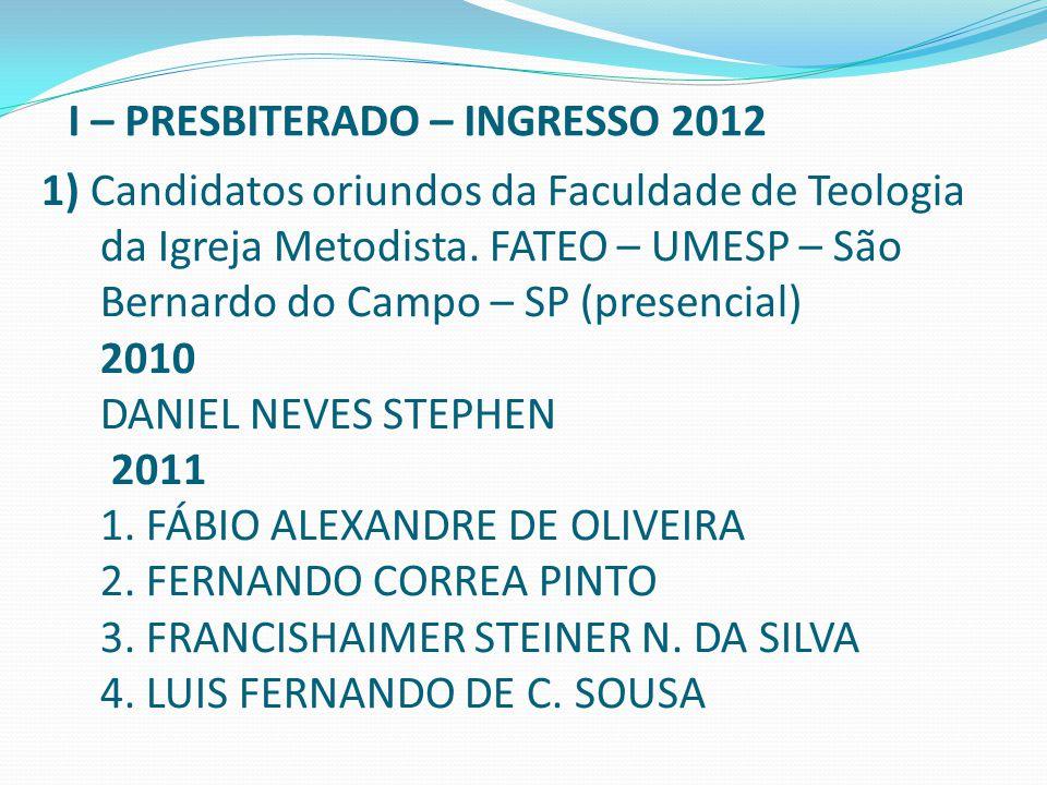 1) Candidatos oriundos da Faculdade de Teologia da Igreja Metodista. FATEO – UMESP – São Bernardo do Campo – SP (presencial) 2010 DANIEL NEVES STEPHEN