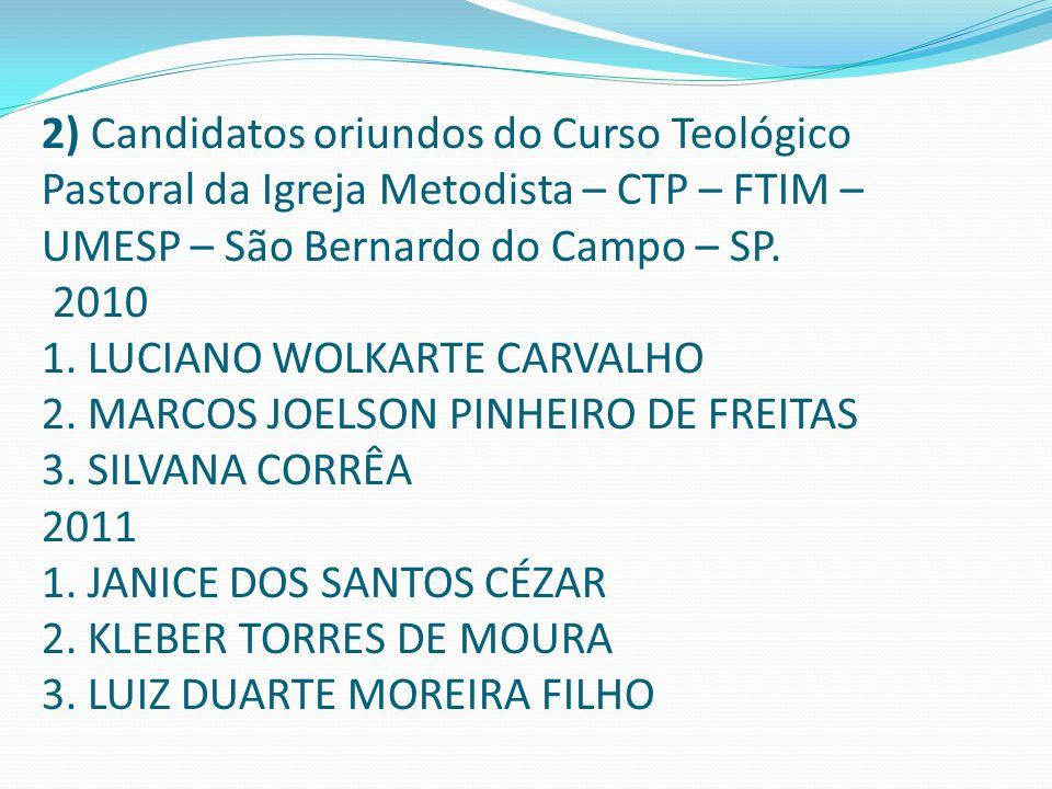 2) Candidatos oriundos do Curso Teológico Pastoral da Igreja Metodista – CTP – FTIM – UMESP – São Bernardo do Campo – SP. 2010 1. LUCIANO WOLKARTE CAR