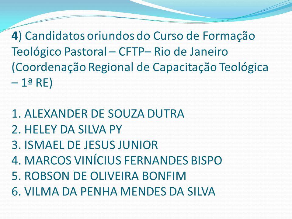 4) Candidatos oriundos do Curso de Formação Teológico Pastoral – CFTP– Rio de Janeiro (Coordenação Regional de Capacitação Teológica – 1ª RE) 1. ALEXA