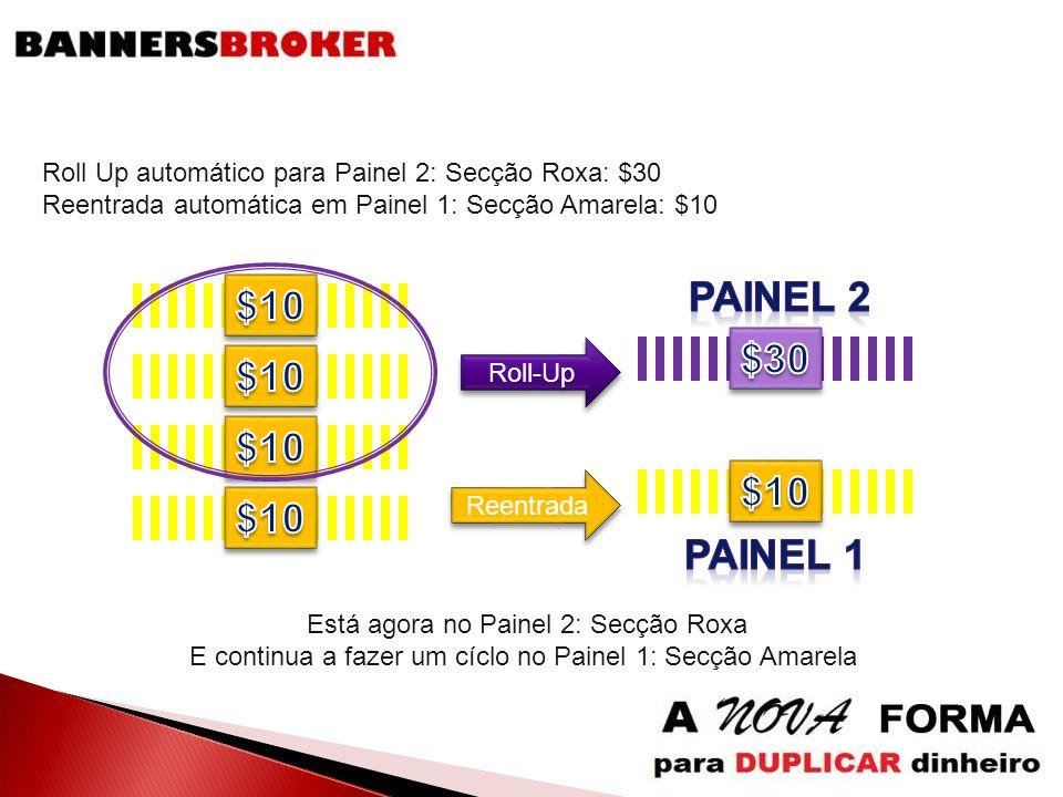 Reentrada Roll-Up Roll Up automático para Painel 2: Secção Roxa: $30 Reentrada automática em Painel 1: Secção Amarela: $10 Está agora no Painel 2: Sec