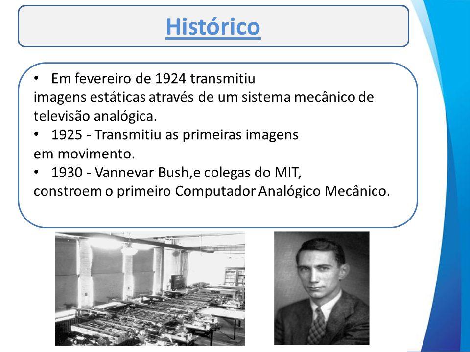 Histórico • Em fevereiro de 1924 transmitiu imagens estáticas através de um sistema mecânico de televisão analógica. • 1925 - Transmitiu as primeiras