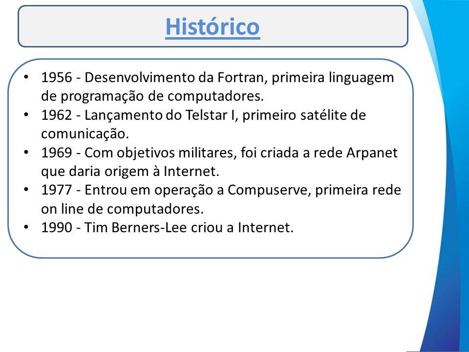 Histórico • 1956 - Desenvolvimento da Fortran, primeira linguagem de programação de computadores. • 1962 - Lançamento do Telstar I, primeiro satélite
