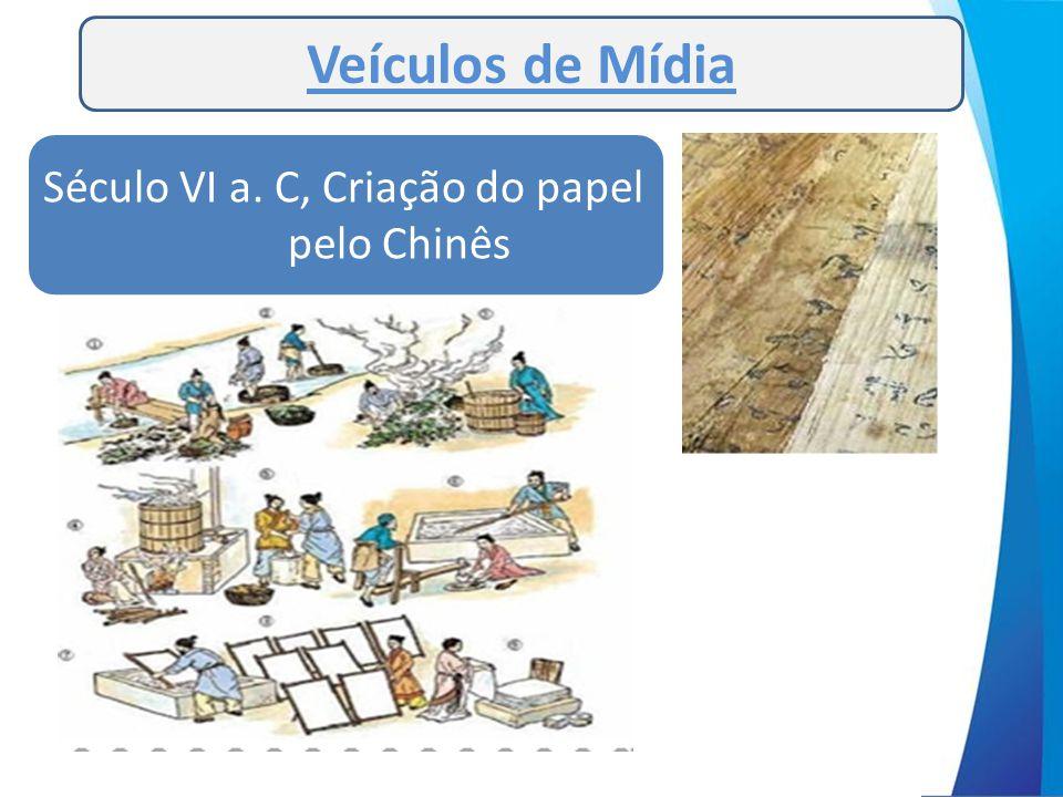 Veículos de Mídia Século VI a. C, Criação do papel pelo Chinês
