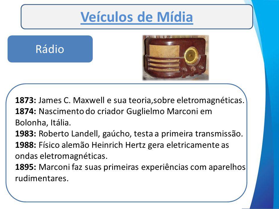 Rádio Veículos de Mídia 1873: James C. Maxwell e sua teoria,sobre eletromagnéticas. 1874: Nascimento do criador Guglielmo Marconi em Bolonha, Itália.