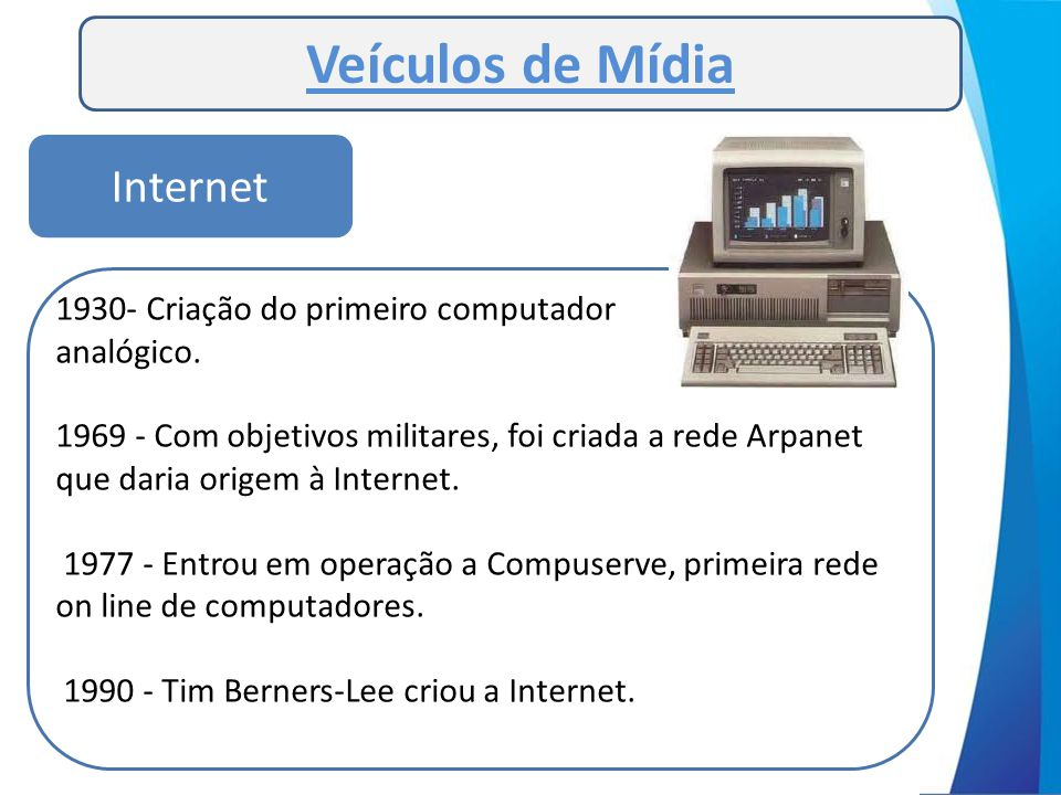 Veículos de Mídia 1930- Criação do primeiro computador analógico. 1969 - Com objetivos militares, foi criada a rede Arpanet que daria origem à Interne