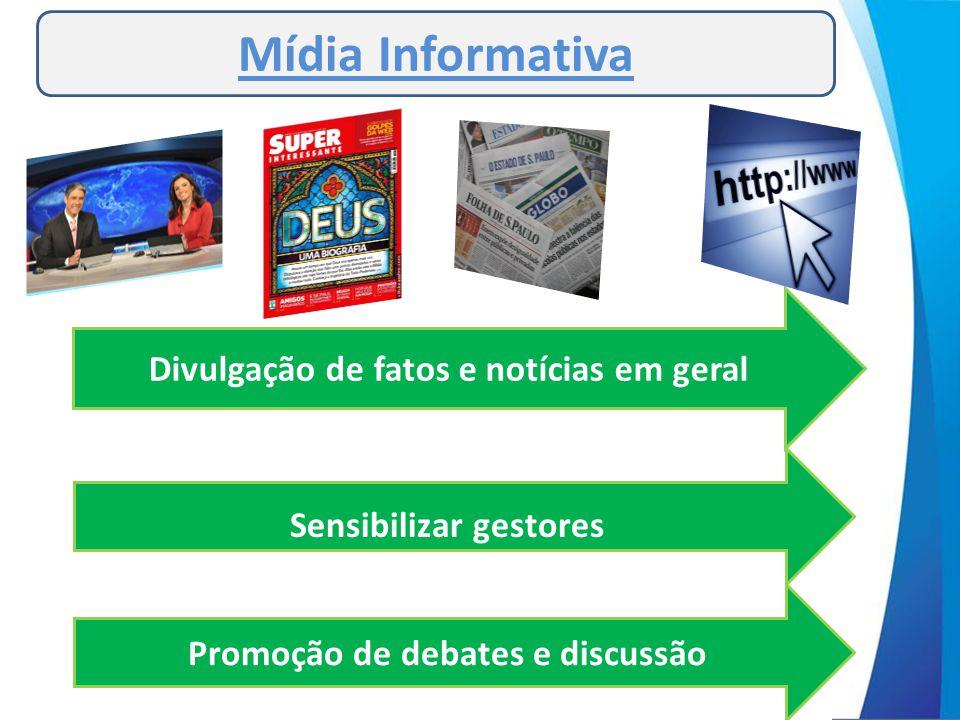 Divulgação de fatos e notícias em geral Sensibilizar gestores Promoção de debates e discussão Mídia Informativa