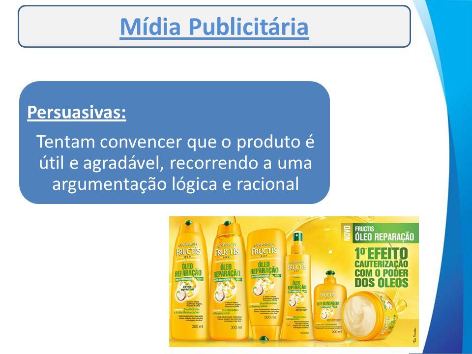 Mídia Publicitária As mensagens publicitárias tentam seduzir o público sendo: Persuasivas: Tentam convencer que o produto é útil e agradável, recorren