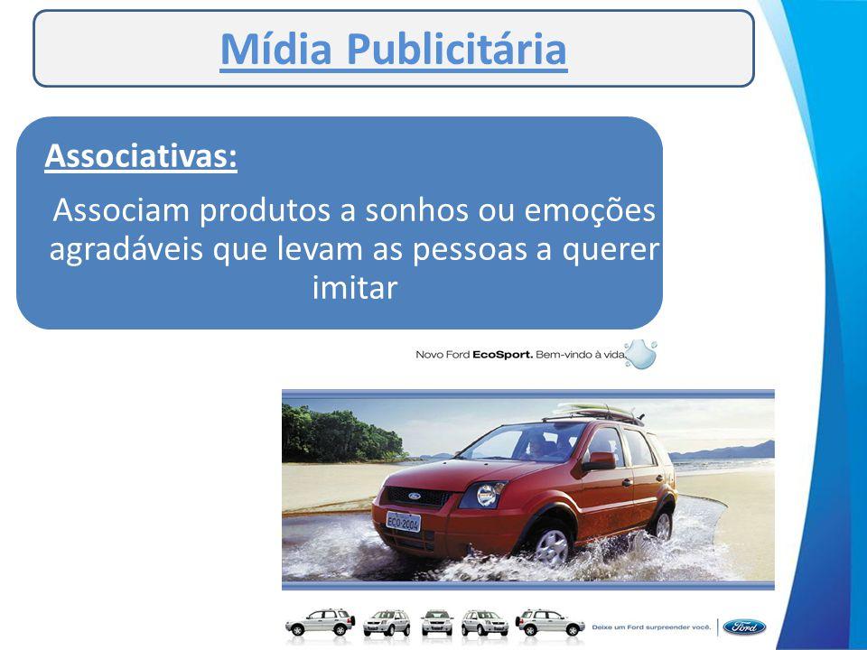 Mídia Publicitária Associativas: Associam produtos a sonhos ou emoções agradáveis que levam as pessoas a querer imitar