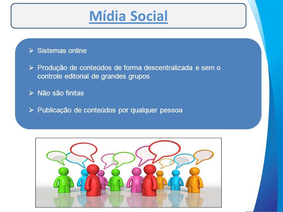 Mídia Social  Sistemas online  Produção de conteúdos de forma descentralizada e sem o controle editorial de grandes grupos  Não são finitas  Publi