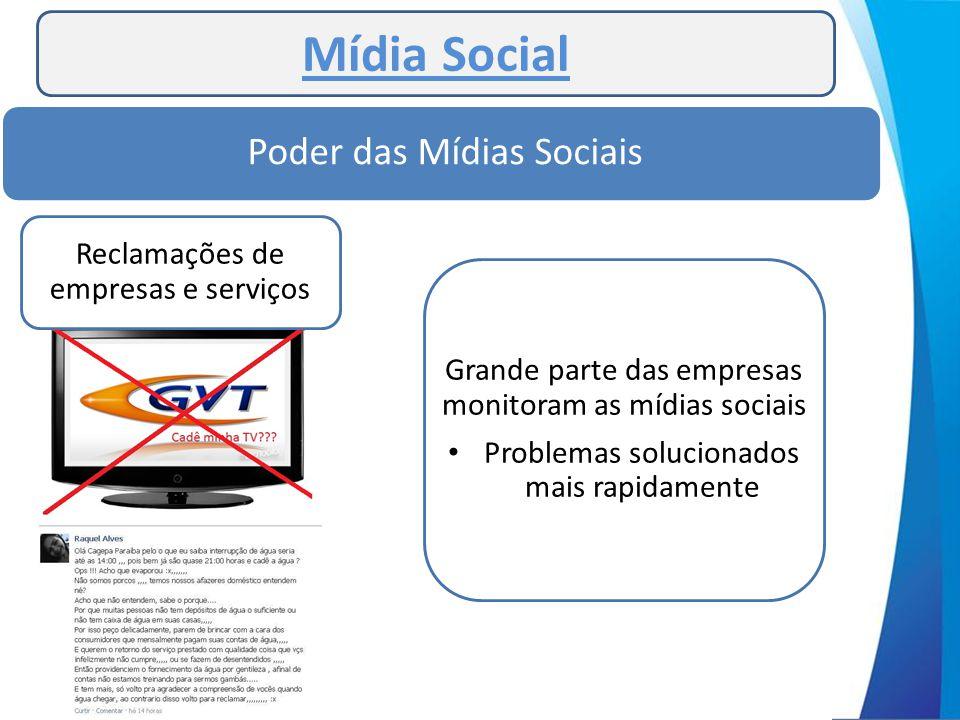 Mídia Social Poder das Mídias Sociais Reclamações de empresas e serviços Grande parte das empresas monitoram as mídias sociais • Problemas solucionado
