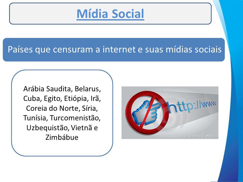Mídia Social Países que censuram a internet e suas mídias sociais Arábia Saudita, Belarus, Cuba, Egito, Etiópia, Irã, Coreia do Norte, Síria, Tunísia,