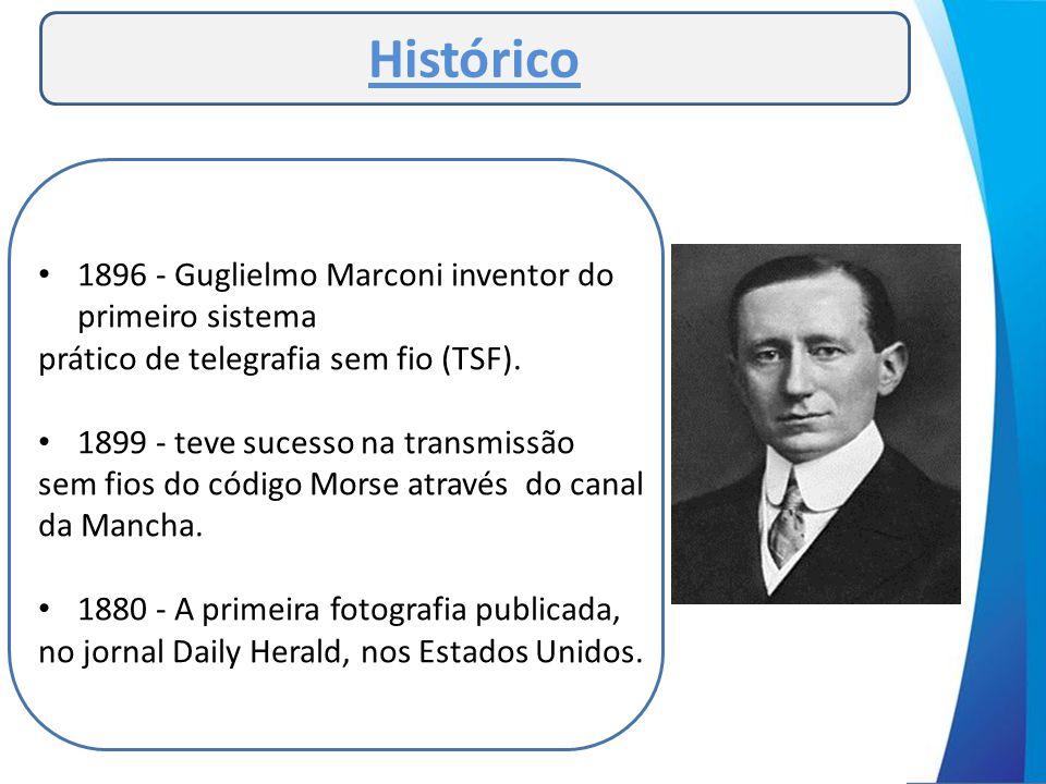 • 1896 - Guglielmo Marconi inventor do primeiro sistema prático de telegrafia sem fio (TSF). • 1899 - teve sucesso na transmissão sem fios do código M