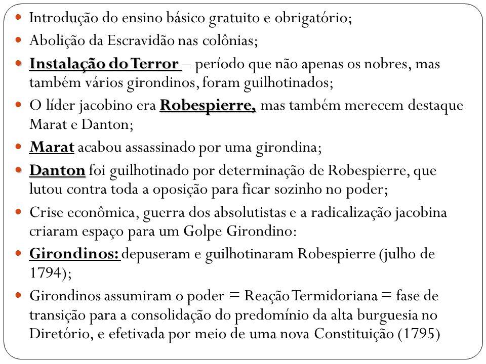  Introdução do ensino básico gratuito e obrigatório;  Abolição da Escravidão nas colônias;  Instalação do Terror  Instalação do Terror – período q