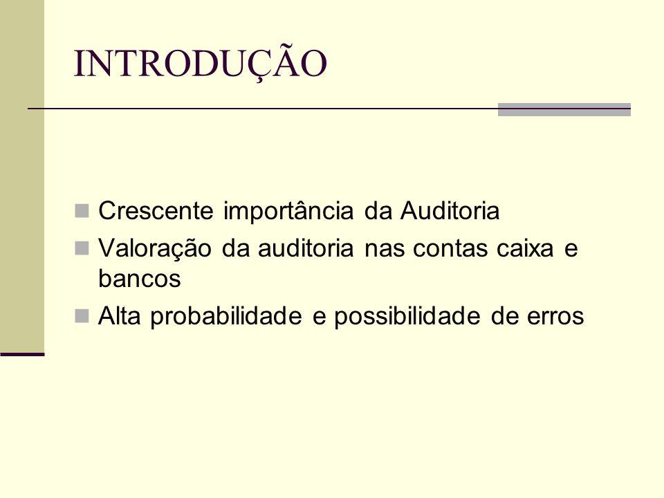 INTRODUÇÃO  Crescente importância da Auditoria  Valoração da auditoria nas contas caixa e bancos  Alta probabilidade e possibilidade de erros